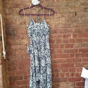 Blue and white print dress